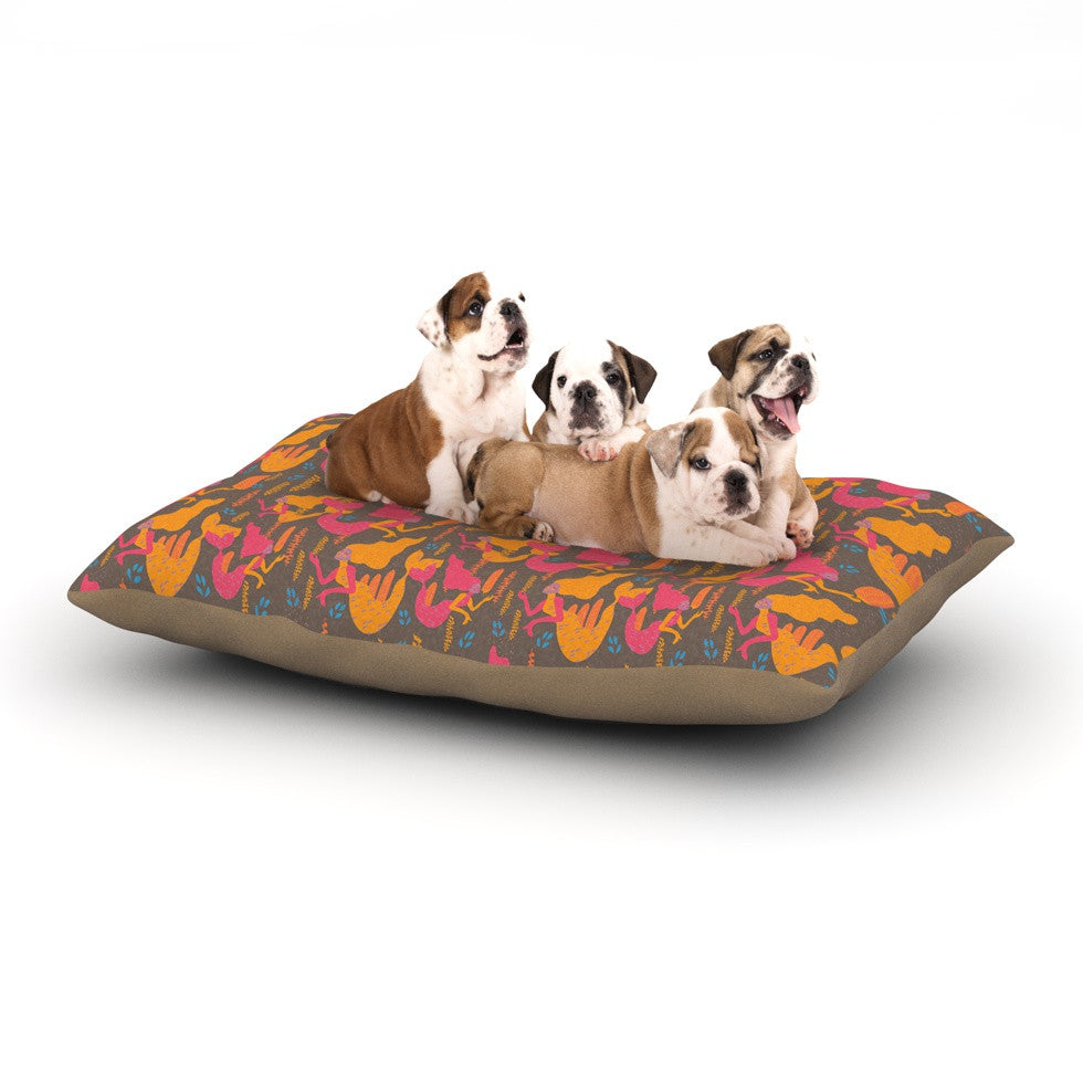 "Akwaflorell ""Mermaids II"" Pink Orange Dog Bed - KESS InHouse  - 1"