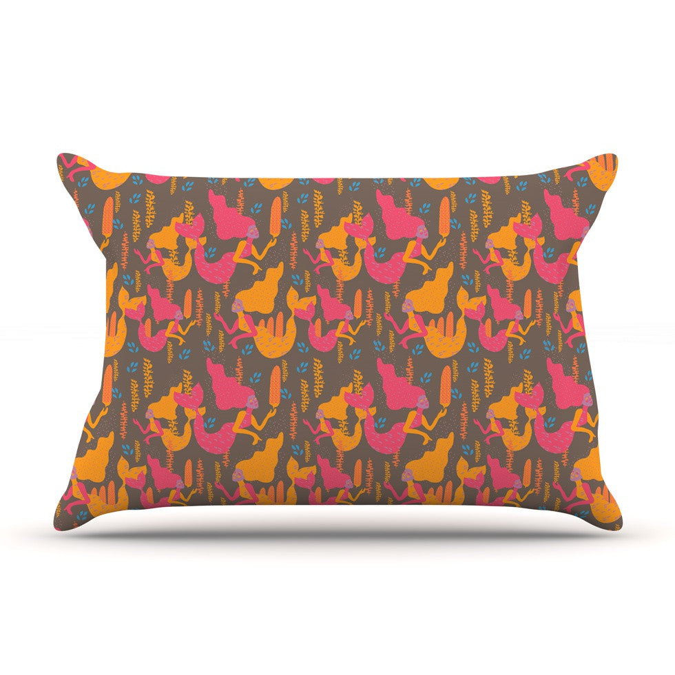 "Akwaflorell ""Mermaids II"" Pink Orange Pillow Sham - KESS InHouse  - 1"