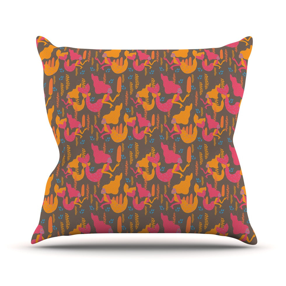 "Akwaflorell ""Mermaids II"" Pink Orange Throw Pillow - KESS InHouse  - 1"