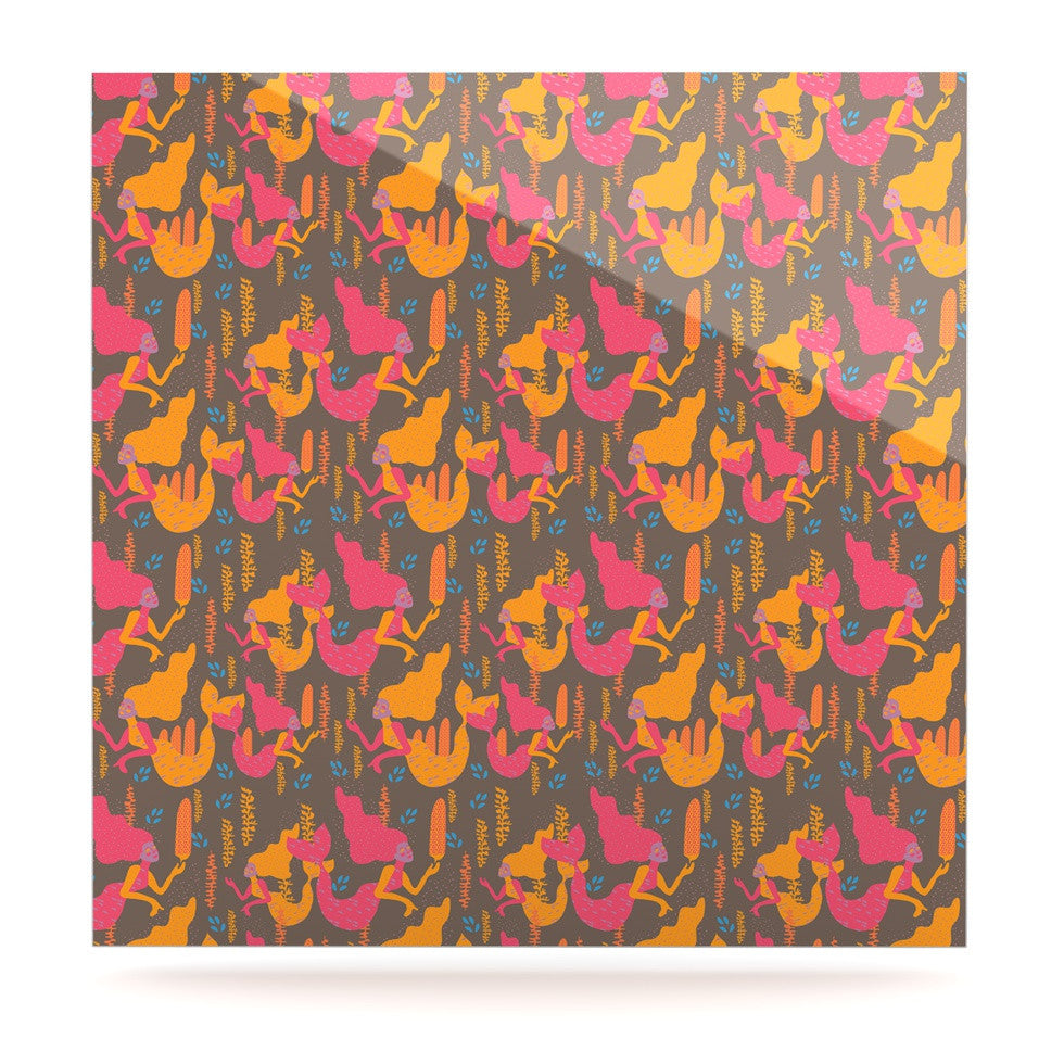 "Akwaflorell ""Mermaids II"" Pink Orange Luxe Square Panel - KESS InHouse  - 1"