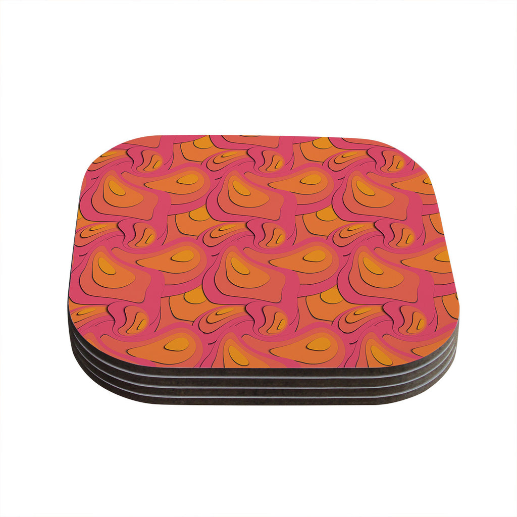 "Akwaflorell ""Fly Away Sadness"" Abstract Pink Coasters (Set of 4)"