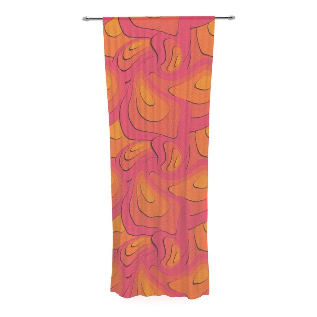 "Akwaflorell ""Fly Away Sadness"" Abstract Pink Decorative Sheer Curtain - KESS InHouse  - 1"