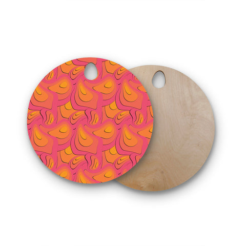 "Akwaflorell ""Fly Away Sadness"" Abstract Pink Round Wooden Cutting Board"