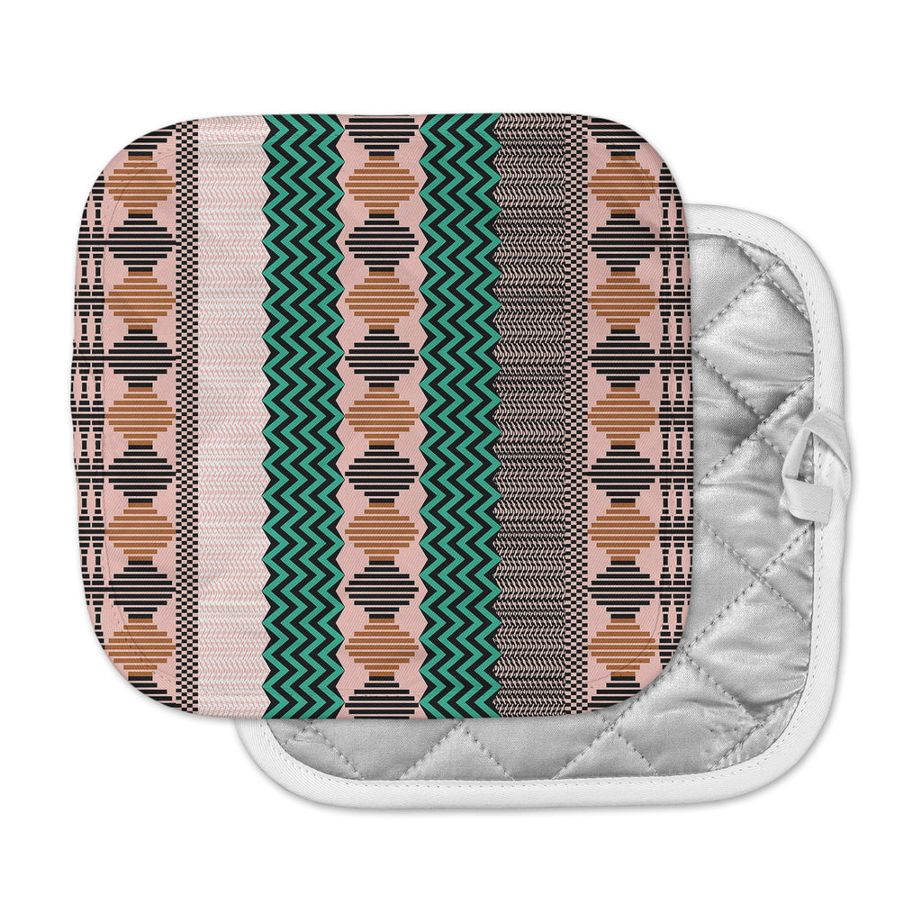 "Akwaflorell ""Knitted 2"" Green Coral Pattern Pot Holder"