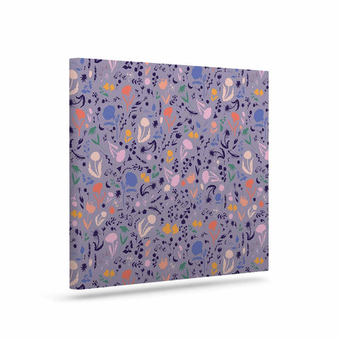 "Akwaflorell ""Pretty Little Flowers4"" Lavender Multicolor Illustration Art Canvas"