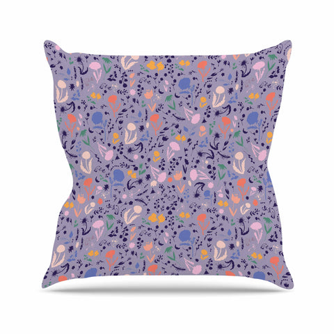 "Akwaflorell ""Pretty Little Flowers4"" Lavender Multicolor Illustration Throw Pillow"