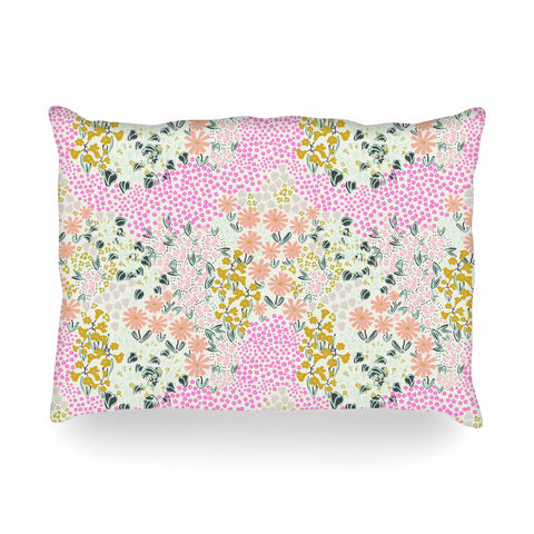 "Akwaflorell ""Colorful Garden3"" Coral Pink Illustration Oblong Pillow"