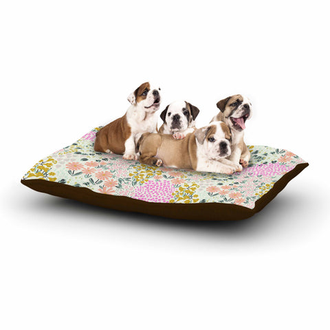 "Akwaflorell ""Colorful Garden3"" Coral Pink Illustration Dog Bed"
