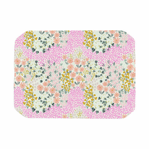 "Akwaflorell ""Colorful Garden3"" Coral Pink Illustration Place Mat"