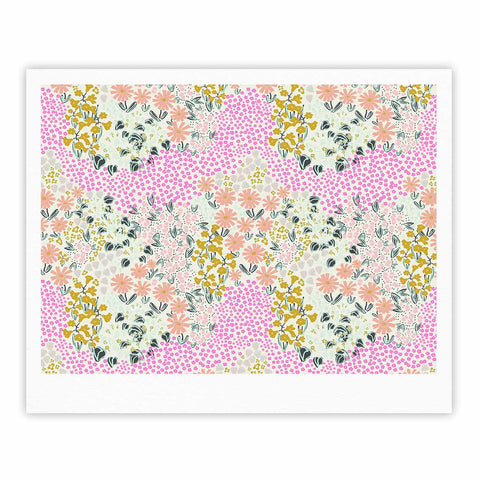 "Akwaflorell ""Colorful Garden3"" Coral Pink Illustration Fine Art Gallery Print"