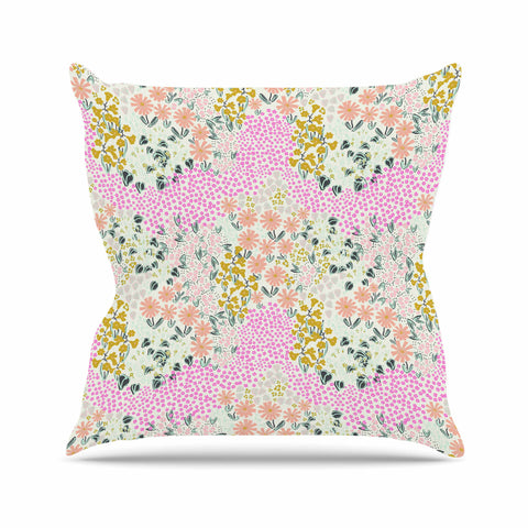 "Akwaflorell ""Colorful Garden3"" Coral Pink Illustration Throw Pillow"