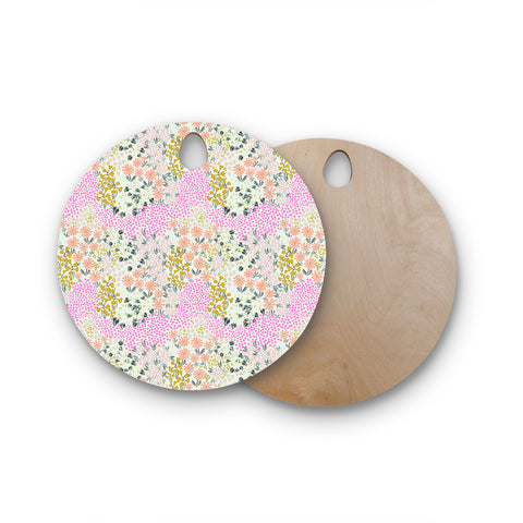 "Akwaflorell ""Colorful Garden3"" Coral Pink Illustration Round Wooden Cutting Board"