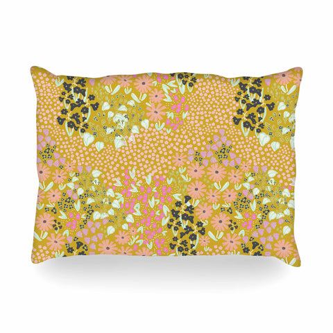 "Akwaflorell ""Colorful Garden2"" Coral Pastel Illustration Oblong Pillow"