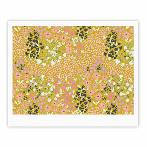 "Akwaflorell ""Colorful Garden2"" Coral Pastel Illustration Fine Art Gallery Print"
