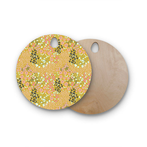 "Akwaflorell ""Colorful Garden2"" Coral Pastel Illustration Round Wooden Cutting Board"