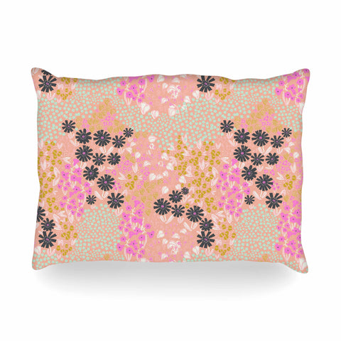 "Akwaflorell ""Colorful Garden"" Coral Multicolor Illustration Oblong Pillow"