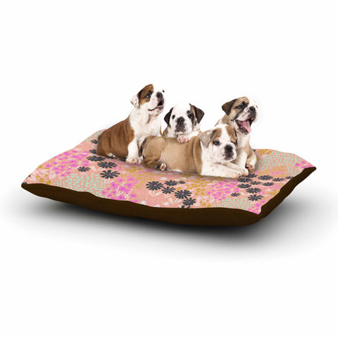 "Akwaflorell ""Colorful Garden"" Coral Multicolor Illustration Dog Bed"