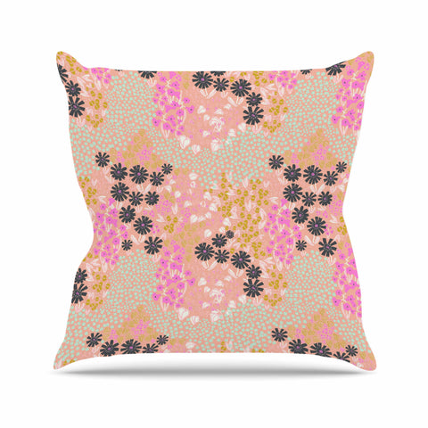 "Akwaflorell ""Colorful Garden"" Coral Multicolor Illustration Throw Pillow"