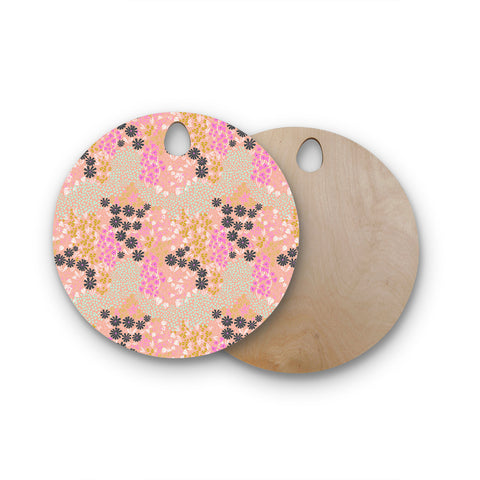 "Akwaflorell ""Colorful Garden"" Coral Multicolor Illustration Round Wooden Cutting Board"