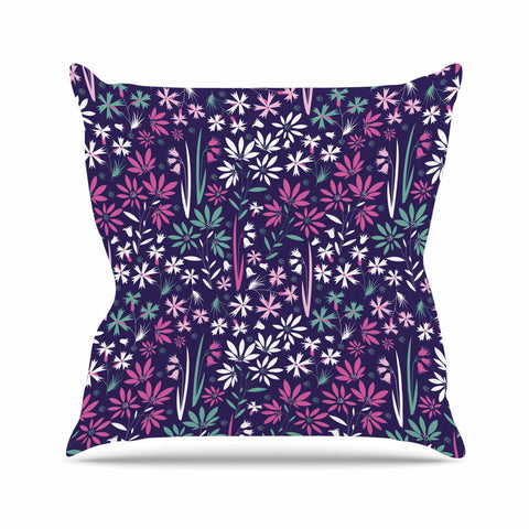 "Akwaflorell ""Meadow3"" Purple Lavender Vector Throw Pillow"