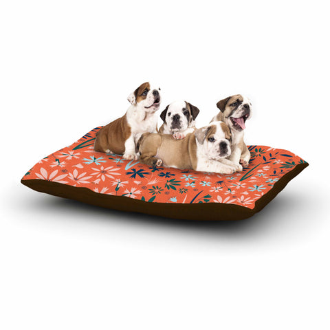 "Akwaflorell ""Meadow"" Coral Pink Digital Dog Bed"