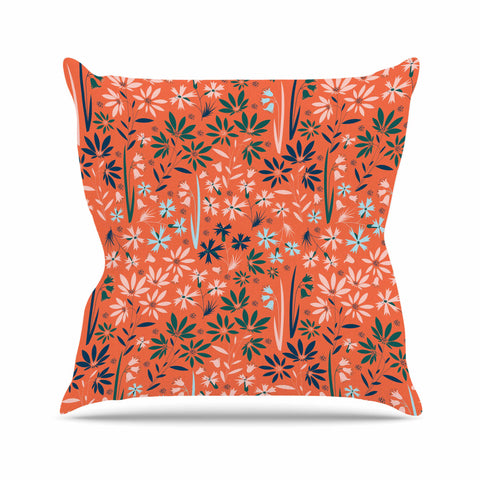 "Akwaflorell ""Meadow"" Coral Pink Digital Throw Pillow"