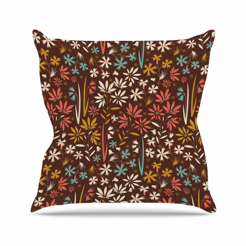 "Akwaflorell ""Sunny Meadow"" Brown Multicolor Vector Throw Pillow"