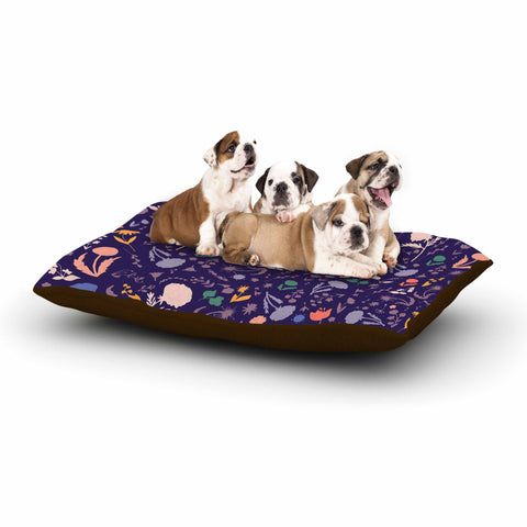 "Akwaflorell ""Pretty Little Flowers 2"" Lavender Multicolor Vector Dog Bed"