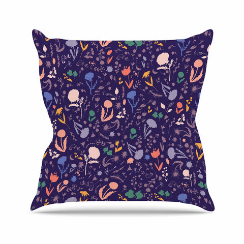 "Akwaflorell ""Pretty Little Flowers 2"" Lavender Multicolor Vector Throw Pillow"