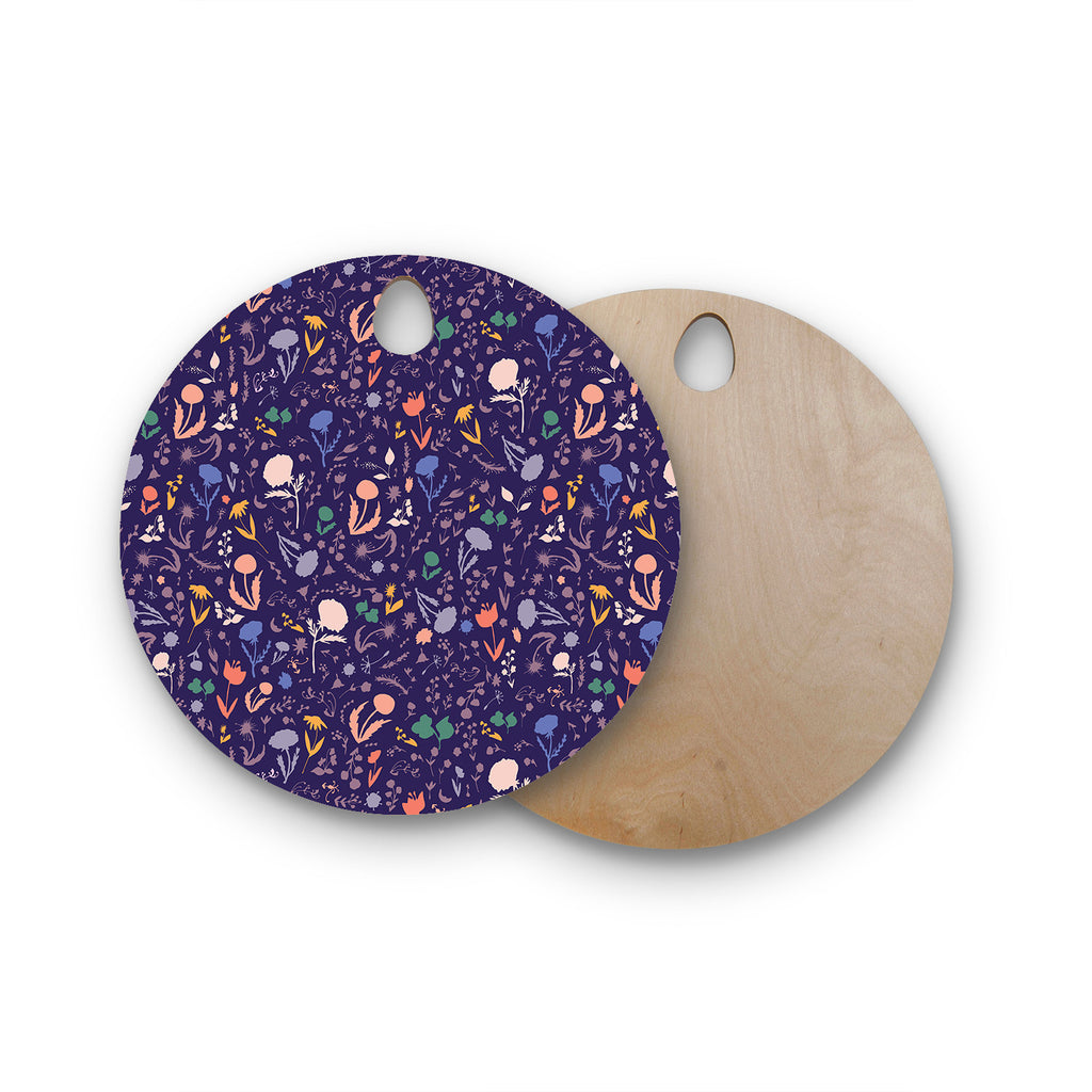 Pretty Little Flowers 2 Round Wooden Cutting Board By Akwaflorell