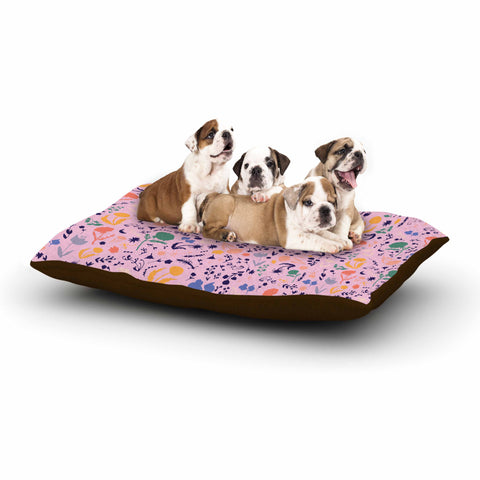 "Akwaflorell ""Pretty Little Flowers3"" Pink Multicolor Illustration Dog Bed"