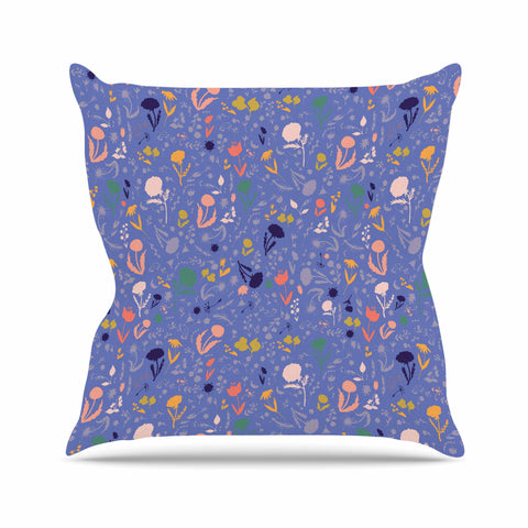 "Akwaflorell ""Pretty Little Flowers2"" Blue Lavender Vector Throw Pillow"