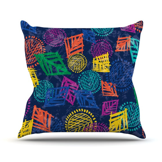 "Emine Ortega ""African Beat Blue"" Throw Pillow - KESS InHouse  - 1"