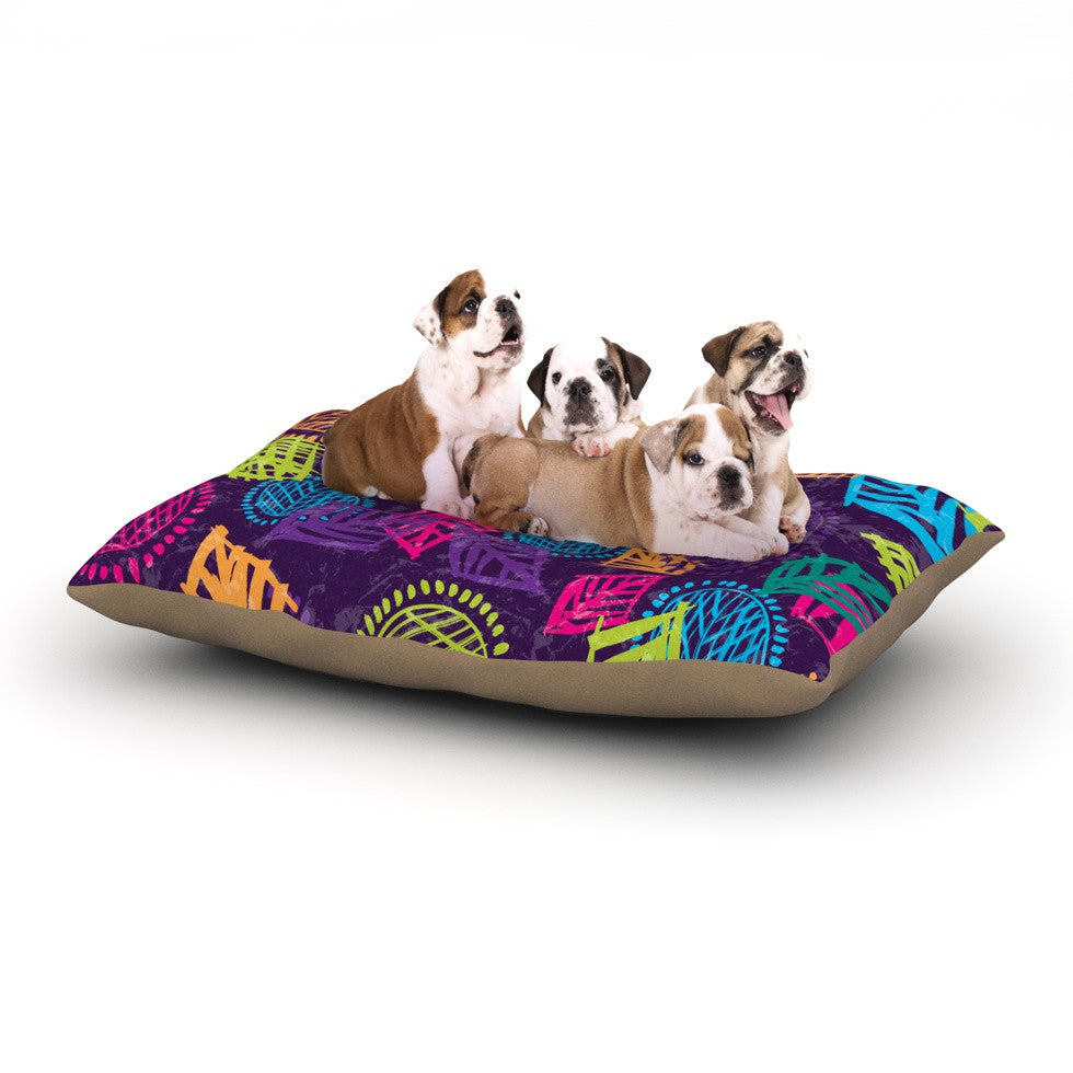 "Emine Ortega ""African Beat Purple"" Dog Bed - KESS InHouse  - 1"