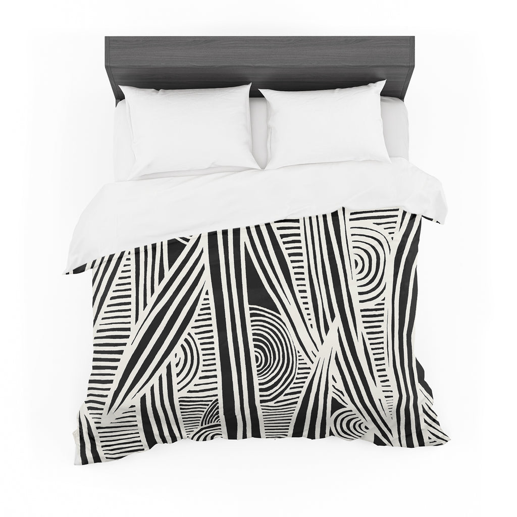 "Emine Ortega ""Graphique Black"" Featherweight Duvet Cover"