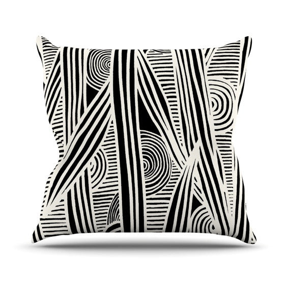"Emine Ortega ""Graphique Black"" Outdoor Throw Pillow - KESS InHouse  - 1"