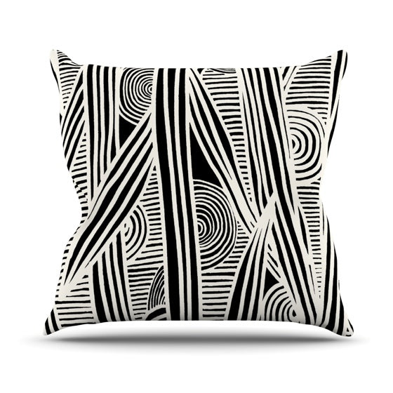 "Emine Ortega ""Graphique Black"" Throw Pillow - KESS InHouse  - 1"