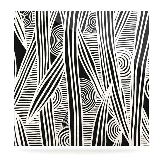 "Emine Ortega ""Graphique Black"" Luxe Square Panel - KESS InHouse  - 1"