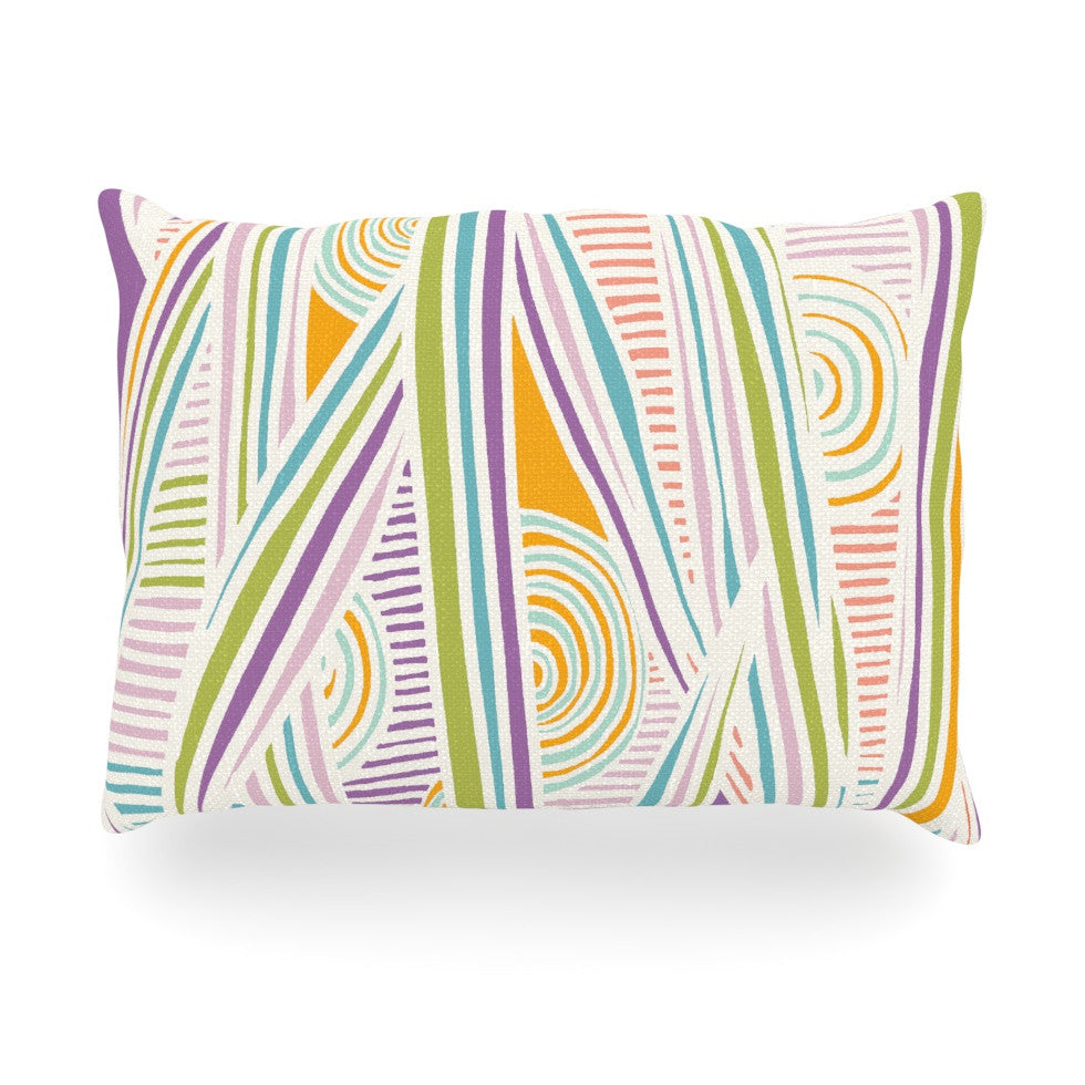 "Emine Ortega ""Graphique White"" Oblong Pillow - KESS InHouse"