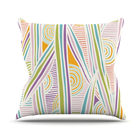 "Emine Ortega ""Graphique White"" Outdoor Throw Pillow - KESS InHouse  - 1"