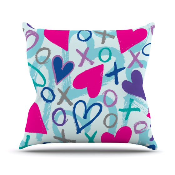"Emine Ortega ""Hearts a Flutter"" Throw Pillow - KESS InHouse  - 1"