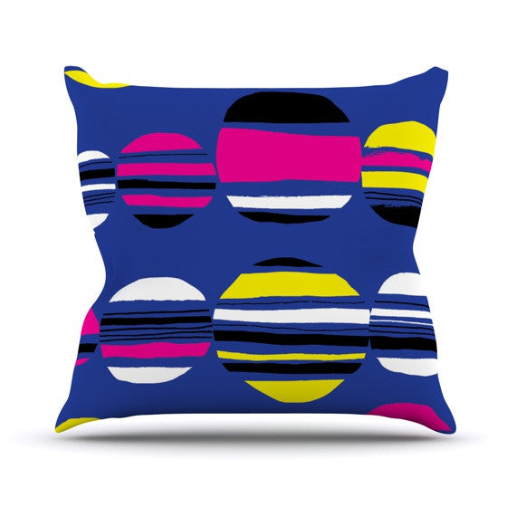 "Emine Ortega ""Retro Circles Cobalt"" Outdoor Throw Pillow - KESS InHouse  - 1"