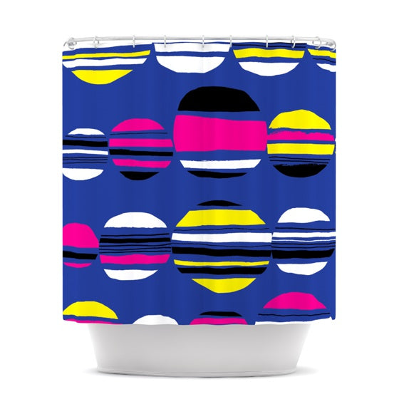 "Emine Ortega ""Retro Circles Cobalt"" Shower Curtain - KESS InHouse"