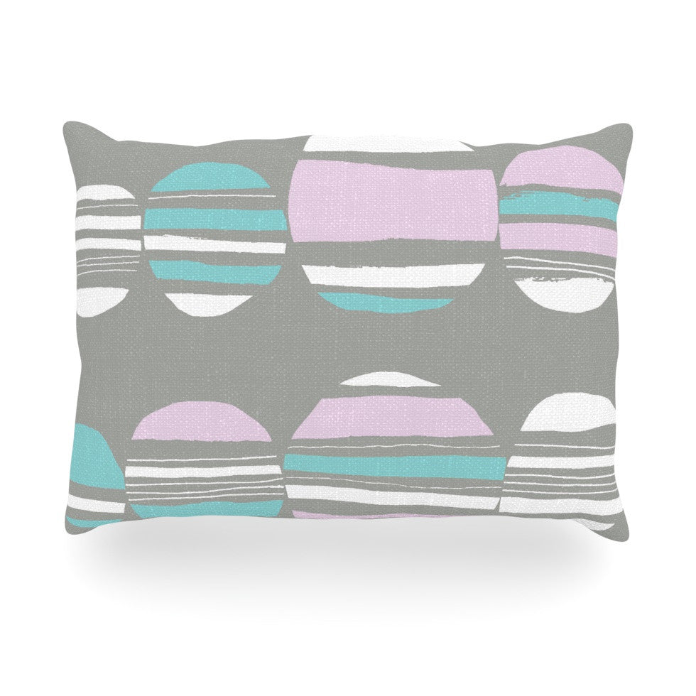 "Emine Ortega ""Retro Circles Pastel"" Oblong Pillow - KESS InHouse"
