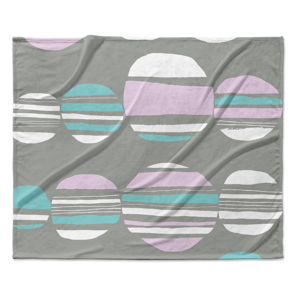 "Emine Ortega ""Retro Circles Pastel"" Fleece Throw Blanket"