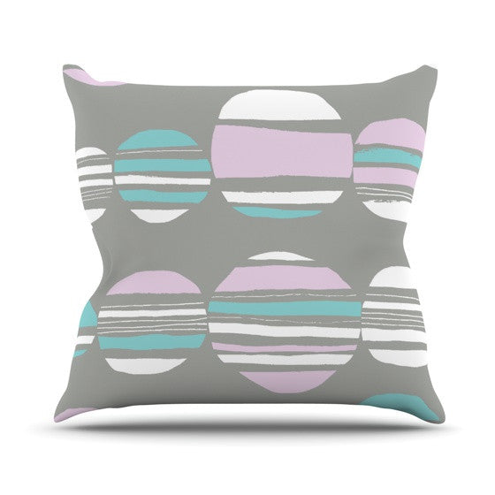 "Emine Ortega ""Retro Circles Pastel"" Outdoor Throw Pillow - KESS InHouse  - 1"