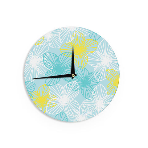 "Emine Ortega ""Aqua Sunshine"" Blue Teal Wall Clock - Outlet Item"