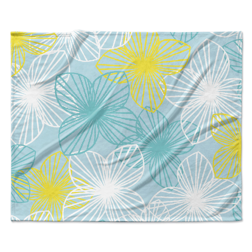 "Emine Ortega ""Aqua Sunshine"" Blue Teal Fleece Throw Blanket"