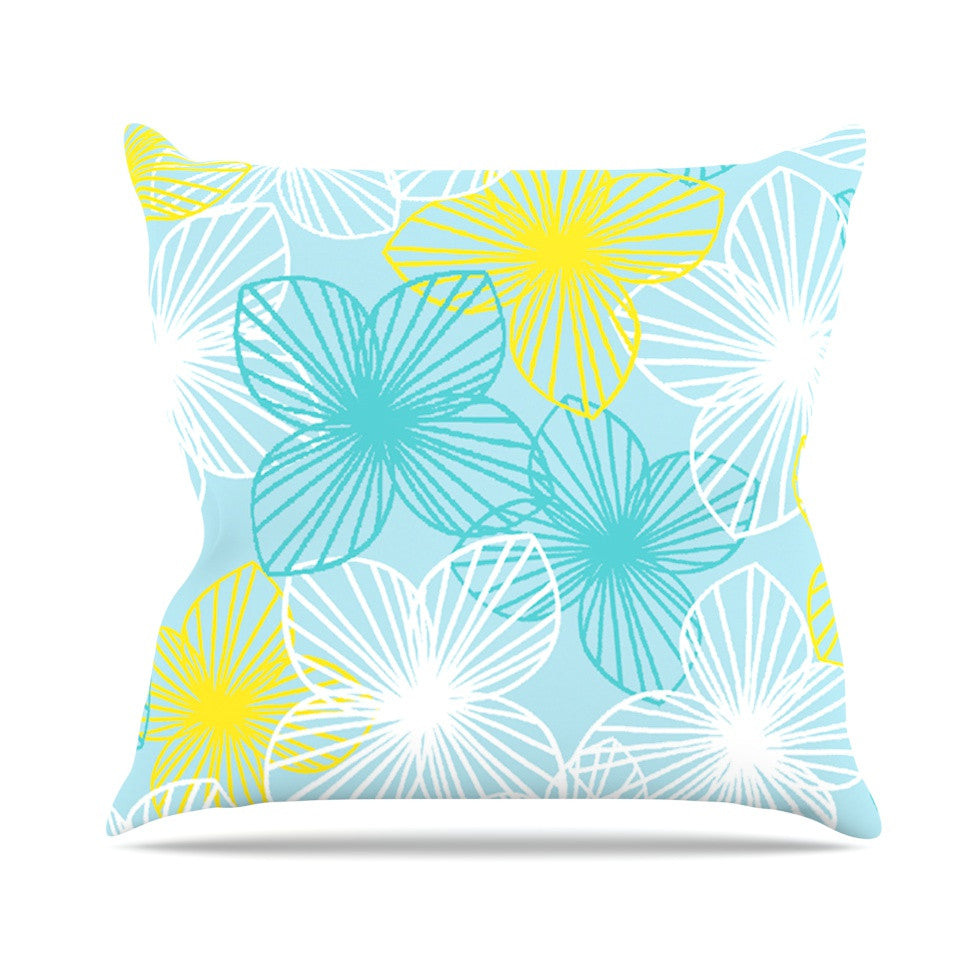 "Emine Ortega ""Aqua Sunshine"" Blue Teal Throw Pillow - KESS InHouse  - 1"