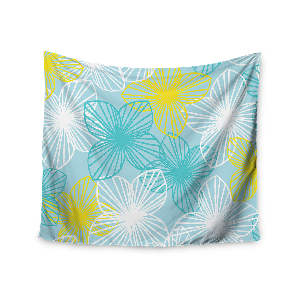 "Emine Ortega ""Aqua Sunshine"" Blue Teal Wall Tapestry - Outlet Item"